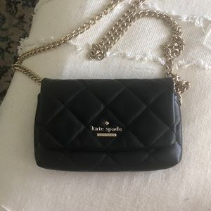 Kate Space black quilted clutch purse